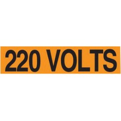 Accuform Signs - LELC415 - Accuform Signs 1/2 X 2 1/4 Black And Orange 4 mil Adhesive Vinyl Conduit Voltage Marker 220 VOLTS (18 Per Card), ( Card )