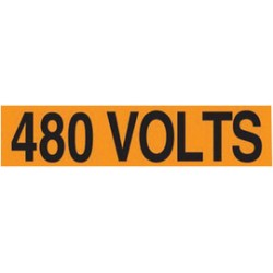 Accuform Signs - LELC440 - Accuform Signs 1 1/8 X 4 1/2 Black And Orange 4 mil Adhesive Vinyl Conduit Voltage Marker 480 VOLTS (4 Per Card), ( Card )