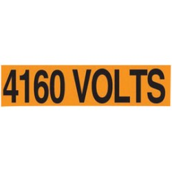 Accuform Signs - LELC456 - Accuform Signs 2 1/4 X 9 Black And Orange 4 mil Adhesive Vinyl Conduit Voltage Marker 4160 VOLTS, ( Card )