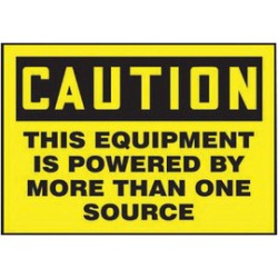 Accuform Signs - LELC635VSP - Accuform Signs 3 1/2 X 5 Yellow And Black 4 mil Adhesive Vinyl Electrical Safety Label CAUTION THIS EQUIPMENT IS POWERED BY MORE THAN ONE SOURCE (5 Per Pack), ( Package )