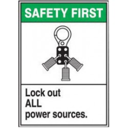 Accuform Signs - LELC901VSP - Accuform Signs 5 X 3 1/2 Black, Green And White 4 mil Adhesive Vinyl Lockout/Tagout Safety Label SAFETY FIRST LOCK OUT ALL POWER SOURCES (With Graphic) (5 Per Pack)