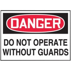 Accuform Signs - LEQM008VSP - Accuform Signs 3 1/2 X 5 Red, Black And White 4 mil Adhesive Vinyl Equipment Safety Label DANGER DO NOT OPERATE WITHOUT GUARDS (5 Per Pack), ( Package )