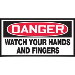 Accuform Signs - LEQM101VSP - Accuform Signs 1 1/2 X 3 Red, Black And White 4 mil Adhesive Vinyl Equipment Safety Label DANGER WATCH YOUR HANDS AND FINGERS (10 Per Pack), ( Package )