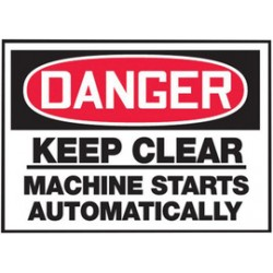 Accuform Signs - LEQM128XVE - Accuform Signs 3 1/2 X 5 Red, Black And White 6 mil Adhesive Dura-Vinyl Equipment Safety Label DANGER KEEP CLEAR MACHINE STARTS AUTOMATICALLY, ( Each )