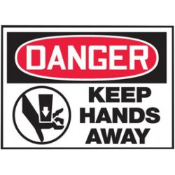 Accuform Signs - LEQM131XVE - Accuform Signs 3 1/2 X 5 Red, Black And White 6 mil Adhesive Dura-Vinyl Equipment Safety Label DANGER KEEP HANDS AWAY (With Graphic), ( Each )