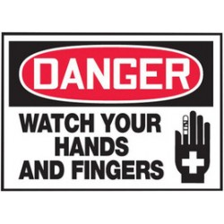 Accuform Signs - LEQM140VSP - Accuform Signs 3 1/2 X 5 Red, Black And White 4 mil Adhesive Vinyl Equipment Safety Label DANGER WATCH YOUR HANDS AND FINGERS (With Graphic) (5 Per Pack), ( Package )