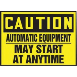Accuform Signs - LEQM603VSP - Accuform Signs 3 1/2 X 5 Black And Yellow 4 mil Adhesive Vinyl Equipment Safety Label CAUTION AUTOMATIC EQUIPMENT MAY START AT ANYTIME (5 Per Pack), ( Package )