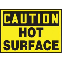Accuform Signs - LEQM619VSP - Accuform Signs 3 1/2 X 5 Black And Yellow 4 mil Adhesive Vinyl Equipment Safety Label CAUTION HOT SURFACE (5 Per Pack), ( Package )