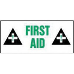 Accuform Signs - LFSD505 - Accuform Signs 4 X 9 Black, Green And White 6 mil Adhesive Dura-Vinyl Safety Label FIRST AID (With Graphic), ( Each )