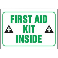 Accuform Signs - LFSD509XVE - Accuform Signs 3 1/2 X 5 Black, Green And White 6 mil Adhesive Dura-Vinyl Safety Label FIRST AID KIT INSIDE (With Graphic), ( Each )