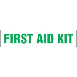 Accuform Signs - LFSD512VSP - Accuform Signs 2 X 9 Green And White 4 mil Adhesive Vinyl Label FIRST AID KIT (5 Per Pack), ( Package )