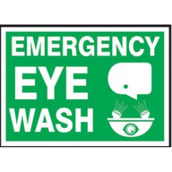 Accuform Signs - LFSD520VSP - Accuform Signs 3 1/2 X 5 White And Green 4 mil Adhesive Vinyl First Aid Safety Label EMERGENCY EYE WASH (With Graphic) (5 Per Pack), ( Each )