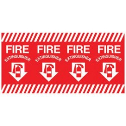 Accuform Signs - LFXG426 - Accuform Signs 12 X 24 White And Red 4 mil Adhesive Vinyl Fire Safety Label FIRE EXTINGUISHER (With Arrow Graphic), ( Each )