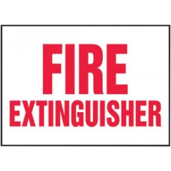 Accuform Signs - LFXG430VSP - Accuform Signs 5 X 7 Red And White 4 mil Adhesive Vinyl Fire Safety Label FIRE EXTINGUISHER (5 Per Pack), ( Package )