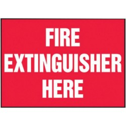 Accuform Signs - LFXG434VSP - Accuform Signs 3 1/2 X 5 White And Red 4 mil Adhesive Vinyl Fire Safety Label FIRE EXTINGUISHER HERE (5 Per Pack), ( Package )
