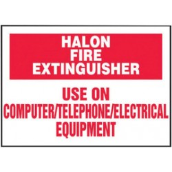 Accuform Signs - Lfxg453vsp - Accuform Signs 3 1/2 X 5 Red And White 4 Mil Adhesive Vinyl Fire Safety Label Halon Fire Extinguisher Use On Computer/telephone/electrical Equipment (5 Per Pack)