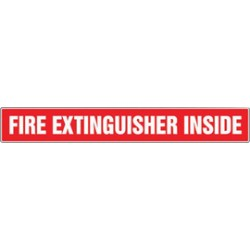 Accuform Signs - LFXG463XVE - Accuform Signs 2 X 14 White And Red 6 mil Adhesive Dura-Vinyl Fire Extinguisher Label FIRE EXTINGUISHER INSIDE, ( Each )