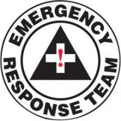 Accuform Signs - LHTL121 - Accuform Signs 2 1/4 Diameter Red, Black And White 4 mil Adhesive Vinyl Hard Hat/Helmet Decal EMERGENCY RESPONSE TEAM (10 Per Pack), ( Package )