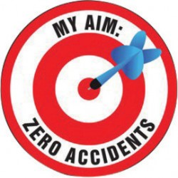 Accuform Signs - LHTL140 - Accuform Signs 2 1/4 Diameter Black, Red, Blue And White 4 mil Adhesive Vinyl Hard Hat/Helmet Decal MY AIM: ZERO ACCIDENTS (With Graphic) (10 Per Pack), ( Package )