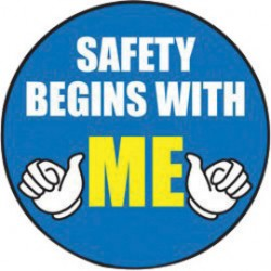 Accuform Signs - LHTL152 - Accuform Signs 2 1/4 Diameter Blue, Yellow, Black And White 4 mil Adhesive Vinyl Hard Hat/Helmet Decal SAFETY BEGINS WITH ME (10 Per Pack), ( Package )
