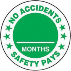 Accuform Signs - LHTL199 - Accuform Signs Green And White Adhesive Vinyl Hard Hat Label NO ACCIDENTS SAFETY PAYS ___ MONTHS (10 Per Pack), ( Each )