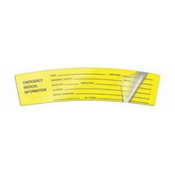Accuform Signs - LHTL250 - Accuform Signs 1 1/2 X 6 Black And Yellow Self-Laminating Hard Hat Label EMERGENCY MEDICAL INFORMATION (5 Per Pack), ( Package )