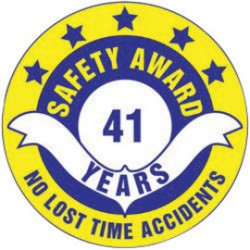 Accuform Signs - LHTL31016 - Accuform Signs 1 1/2 Blue, Yellow And White 4 mil Adhesive Vinyl Hard Hat Label SAFETY AWARD NO LOST TIME ACCIDENTS ____YEARS (10 Per Pack), ( Each )