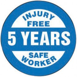 Accuform Signs - LHTL363 - Accuform Signs 2 1/4 Diameter White And Blue 4 mil Adhesive Vinyl No Accident Recognition Hard Hat Label INJURY FREE 5 YEARS SAFE WORKER (10 Per Pack), ( Package )