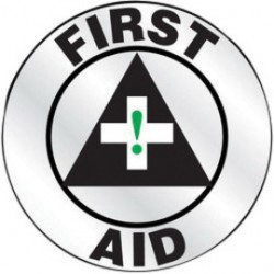 Accuform Signs - LHTL621 - Accuform Signs 2 1/4 Diameter Green, Black And White Reflective Sheet Emergency Response Helmet Sticker FIRST AID (With Graphic), ( Each )