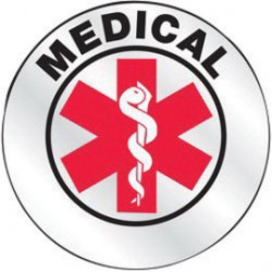Accuform Signs - LHTL637 - Accuform Signs 2 1/4 Diameter Red, Black And White Reflective Sheet Emergency Response Helmet Sticker MEDICAL, ( Each )