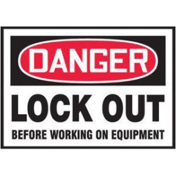 Accuform Signs - LLKT107VSP - Accuform Signs 3 1/2 X 5 Black, Red And White 4 mil Adhesive Vinyl Lockout/Tagout Safety Label DANGER LOCK OUT BEFORE WORKING ON EQUIPMENT (5 Per Pack), ( Package )