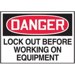 Accuform Signs - LLKT295VSP-PK - Accuform Signs 3 1/2 X 5 Red, Black And White 4 mil Adhesive Vinyl Lockout/Tagout Safety Label DANGER LOCKOUT BEFORE WORKING ON EQUIPMENT (5 Per Pack), ( Pack of 5 )