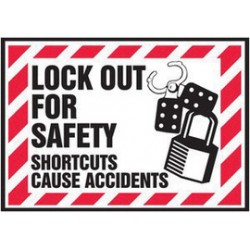 Accuform Signs - LLKT501VSP - Accuform Signs 3 1/2 X 5 Black, Red And White 4 mil Adhesive Vinyl Lockout/Tagout Safety Label LOCK OUT FOR SAFETY SHORTCUTS CAUSE ACCIDENTS (With Graphic) (5 Per Pack)