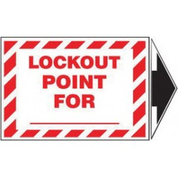 Accuform Signs - LLKT509VSP - Accuform Signs 3 1/2 X 5 Red And White 4 mil Adhesive Vinyl Lockout/Tagout Safety Label LOCK OUT POINT FOR ___ (With Arrow) (5 Per Pack), ( Package )
