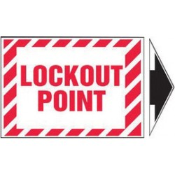Accuform Signs - LLKT530VSP-EA - Accuform Signs 3 1/2 X 5 Red And White 4 mil Adhesive Vinyl Lockout/Tagout Safety Label LOCKOUT POINT (With Arrow) (5 Per Pack), ( Each )