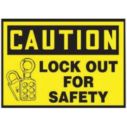 Accuform Signs - LLKT605VSP - Accuform Signs 3 1/2 X 5 Black And Yellow 4 mil Adhesive Vinyl Lockout/Tagout Safety Label CAUTION LOCK OUT FOR SAFETY (With Graphic) (5 Per Pack), ( Each )
