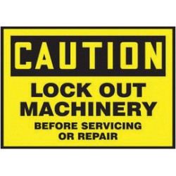 Accuform Signs - LLKT610VSP - Accuform Signs 3 1/2 X 5 Black And Yellow 4 mil Adhesive Vinyl Lockout/Tagout Safety Label CAUTION LOCK OUT MACHINERY BEFORE SERVICING OR REPAIR (5 Per Pack), ( Each )
