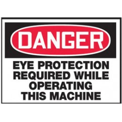 Accuform Signs - LPPE129VSP - Accuform Signs 3 1/2 X 5 Red, Black And White 4 mil Adhesive Vinyl PPE Safety Label DANGER EYE PROTECTION REQUIRED WHILE OPERATING THIS MACHINE (5 Per Pack), ( Package )