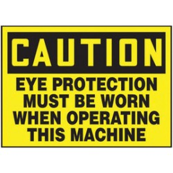 Accuform Signs - LPPE605VSP - Accuform Signs 3 1/2 X 5 Black And Yellow 4 mil Adhesive Vinyl PPE Safety Label CAUTION EYE PROTECTION MUST BE WORN WHEN OPERATING THIS MACHINE (5 Per Pack), ( Package )