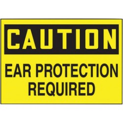Accuform Signs - LPPE606VSP - Accuform Signs 3 1/2 X 5 Black And Yellow 4 mil Adhesive Vinyl PPE Safety Label CAUTION EAR PROTECTION REQUIRED (5 Per Pack), ( Package )