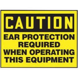 Accuform Signs - Lppe607vsp - Accuform Signs 3 1/2 X 5 Black And Yellow 4 Mil Adhesive Vinyl Ppe Safety Label Caution Ear Protection Required When Operating This Equipment (5 Per Pack), ( Package )