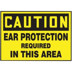 Accuform Signs - LPPE618VSP - Accuform Signs 3 1/2 X 5 Black And Yellow 4 mil Adhesive Vinyl Personal Protection Label CAUTION EAR PROTECTION REQUIRED IN THIS AREA (5 Per Pack), ( Package )
