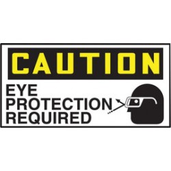 Accuform Signs - LPPE691VSP - Accuform Signs 1 1/2 X 3 Black And Yellow 4 mil Adhesive Vinyl PPE Safety Label CAUTION EYE PROTECTION REQUIRED (With Graphic) (10 Per Pack), ( Package )