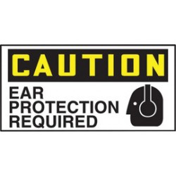 Accuform Signs - LPPE694XVE - Accuform Signs 1 1/2 X 3 Black And Yellow 6 mil Adhesive Dura-Vinyl PPE Safety Label CAUTION EAR PROTECTION REQUIRED (5 Per Pack), ( Each )