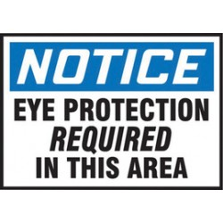 Accuform Signs - LPPE808XVE - Accuform Signs 3 1/2 X 5 White, Blue And Black 6 mil Adhesive Dura-Vinyl PPE Safety Label NOTICE EYE PROTECTION REQUIRED IN THIS AREA, ( Each )