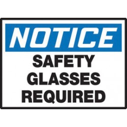 Accuform Signs - LPPE829VSP - Accuform Signs 3 1/2 X 5 White, Blue And Black 4 mil Adhesive Vinyl PPE Safety Label NOTICE SAFETY GLASSES REQUIRED (5 Per Pack), ( Package )