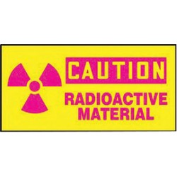 Accuform Signs - LRAD602VSP - Accuform Signs 3 X 7 Red And Yellow 4 mil Adhesive Vinyl Safety Label CAUTION RADIOACTIVE MATERIAL (With Graphic) (5 Per Pack), ( Each )