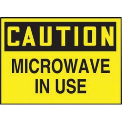 Accuform Signs - LRAD615VSP-PK - Accuform Signs 3 1/2 X 5 Black And Yellow 4 mil Adhesive Vinyl Safety Label CAUTION MICROWAVE IN USE, ( Pack of 5 )