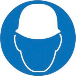 Accuform Signs - LSGM2064-EA - Accuform Signs 4 White And Blue 6 mil Adhesive Dura-Vinyl ISO Safety Label MANDATORY WEAR HEAD PROTECTION (5 Per Pack), ( Each )