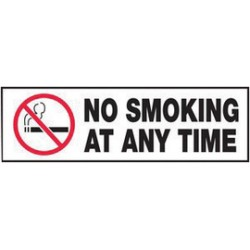Accuform Signs - LSMK520VSP - Accuform Signs 3 X 10 White, Black And Red 4 mil Adhesive Vinyl Smoking Control Safety Label NO SMOKING AT ANY TIME (With Graphic) (5 Per Pack), ( Each )